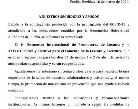 Encuentro internacional de promotores de lectura, será pospuesto por Covid-19