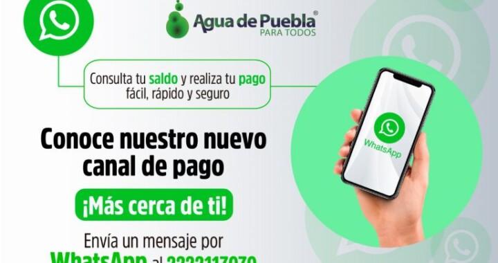 Crea Agua de Puebla servicio vía WhatsApp para pagar y consultar saldo