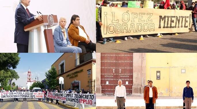 Gira de AMLO en Puebla representada por marchas y ausencia de cubrebocas