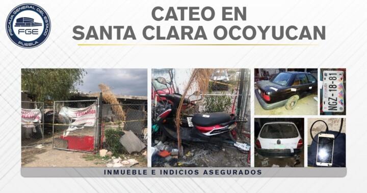 En Santa Clara Ocoyucan, Fiscalía cateó un inmueble con vehículos robados