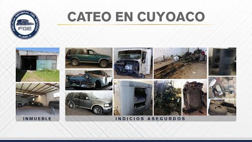 Aseguran en Cuyoaco inmueble con unidades y autopartes