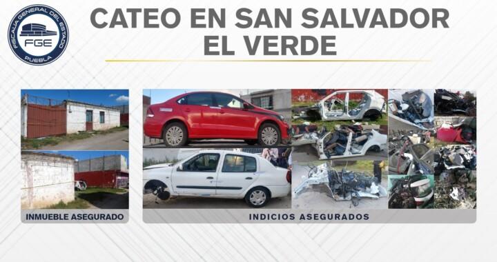 FGE aseguró unidades y autopartes en San Salvador el Verde