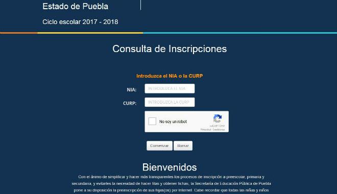 Resultado de preinscripciones en Puebla, educación básica