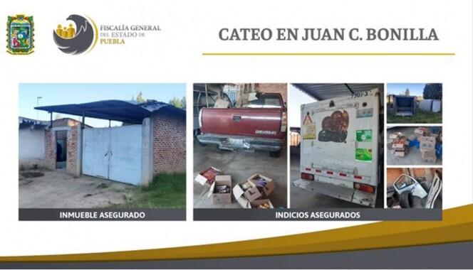 Encuentran camionetas con galletas robadas en cateo en Puebla