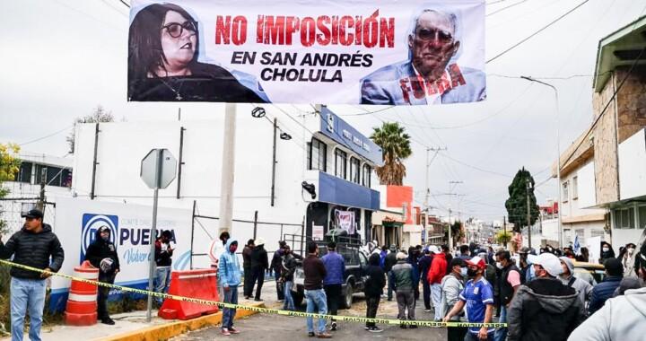 Panistas de San Andrés Cholula protestan ante imposición de candidatos