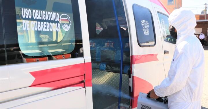 Supervisa SMT sanitización de unidades del transporte en San Pedro Cholula