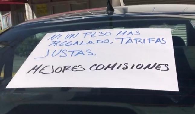 Conductores de plataformas protestan para exigir tarifas justas y filtros de seguridad