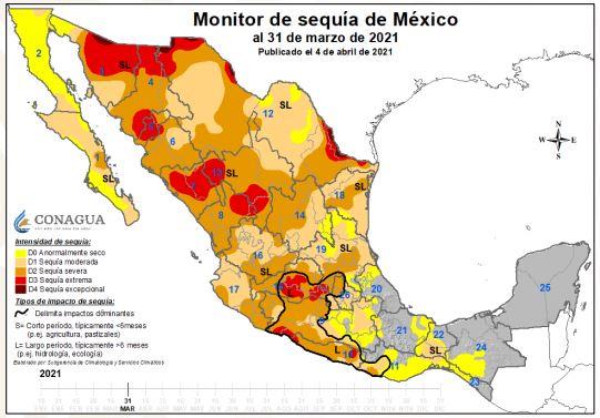 Padece Puebla sequía en el 60.8 % de su territorio