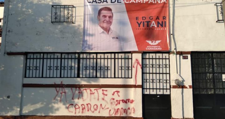 Vandalizan casa de campaña de Edgar Yamil Yitani