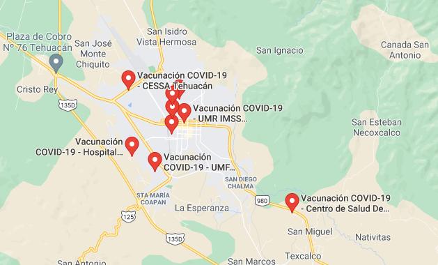 Implementan mecanismo para la búsqueda de centros de vacunación en Tehuacán