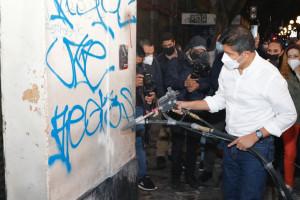 Arranca alcalde Eduardo Rivera limpieza integral del CH y eliminación de grafiti